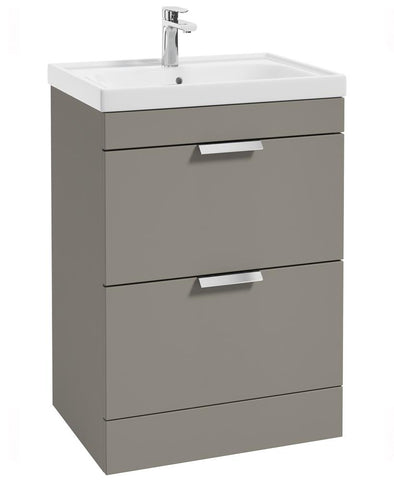 SONAS Stockholm Khaki Matt 60cm 2 Drawer Floor Standing Vanity Unit - Brushed Chrome Handle Code CDST60KH