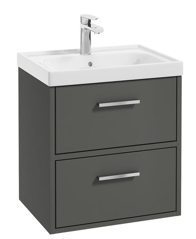 SONAS Finland Dolphin Grey Matt 50cm Wall Hung Vanity Unit - Brushed Chrome Handle Code CFIN50DG