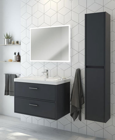 SONAS Finland Midnight Grey Matt 80cm Wall Hung Vanity Unit - Brushed Chrome Handle Code CFIN80MN