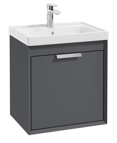 SONAS Fjord Midnight Grey Matt 50cm Wall Hung Vanity Unit-Brushed Chrome Handle Code CFJ50MN