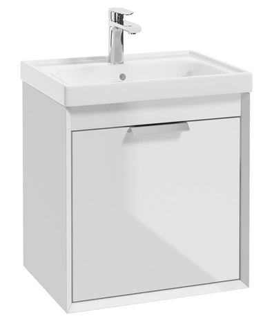 SONAS Fjord Gloss White 50cm Wall Hung Vanity Unit-Brushed Chrome Handle Code CFJ50WH