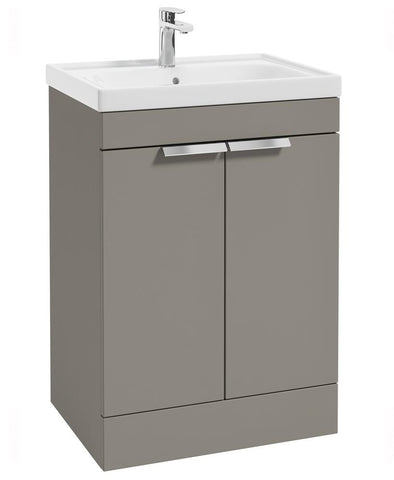 SONAS Stockholm Khaki Matt 60cm 2 Door Floor Standing Vanity Unit - Brushed Chrome Handle Code CFST60KH