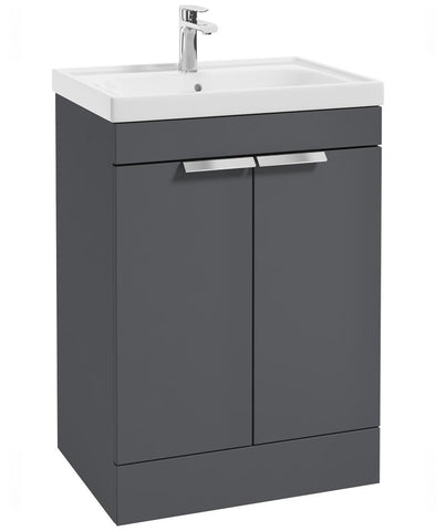 SONAS Stockholm Midnight Grey Matt 60cm 2 Door Floor Standing Vanity Unit - Brushed Chrome Handle Code CFST60MN