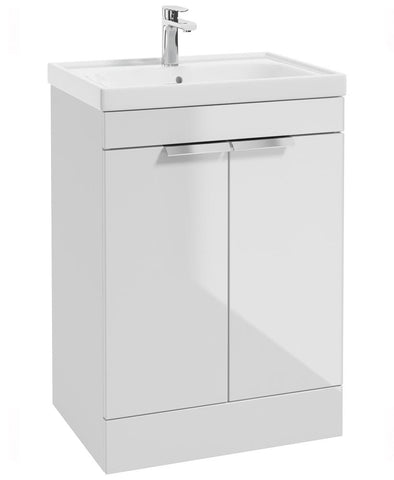 SONAS Stockholm Gloss White 60cm 2 Door Floor Standing Vanity Unit - Brushed Chrome Handle Code CFST60WH