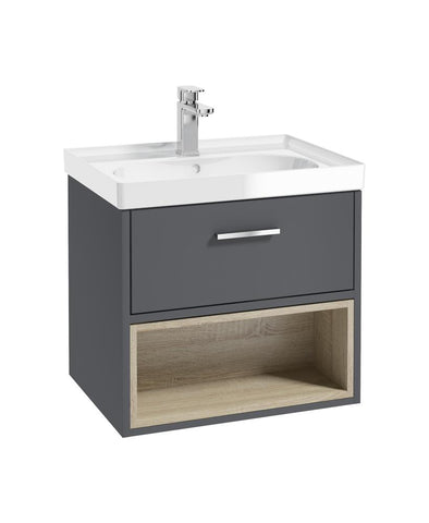 Malmo 60cm Single Drawer, Open Shelf Unit, Midnight Grey, Chrome Handle, Gloss Basin CMAL60MGGB