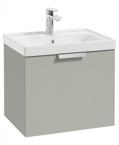 SONAS Stockholm Arctic Grey Matt 50cm Wall Hung Vanity Unit - Brushed Chrome Handle Code CWST50AG