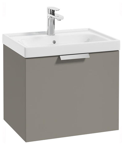 SONAS Stockholm Khaki Matt 50cm Wall Hung Vanity Unit - Brushed Chrome Handle Code CWST50KH