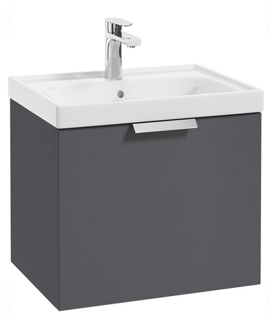 SONAS Stockholm Midnight Grey Matt 50cm Wall Hung Vanity Unit - Brushed Chrome Handle Code CWST50MN
