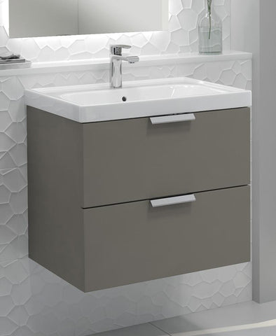 SONAS Stockholm Khaki Matt 60cm Wall Hung Vanity Unit - Brushed Chrome Handle Code CWST60KH