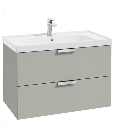 SONAS Stockholm Arctic Grey Matt 80cm Wall Hung Vanity Unit - Brushed Chrome Handle Code CWST80AG