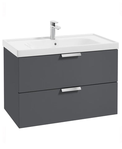 SONAS Stockholm Midnight Grey Matt 80cm Wall Hung Vanity Unit - Brushed Chrome Handle Code CWST80MN