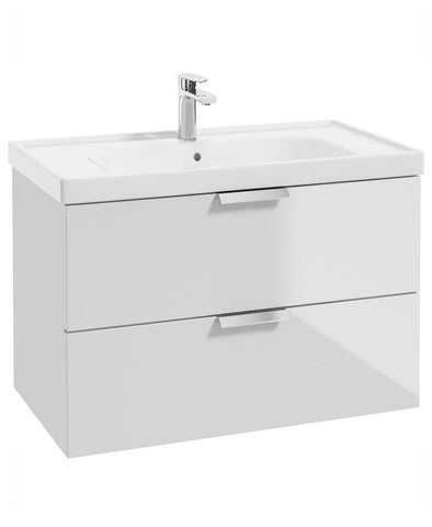 SONAS Stockholm Gloss White 80cm Wall Hung Vanity Unit - Brushed Chrome Handle Code CWST80WH
