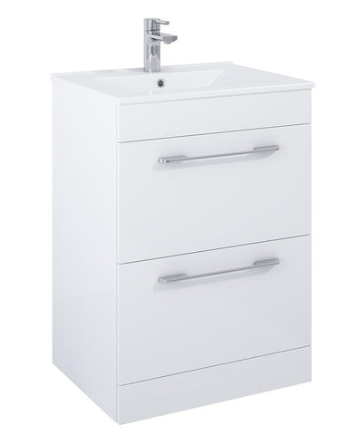 SONAS Otto Plus Gloss White 60cm Floor Standing 2 Drawer Vanity Unit Code DRF60OPWH