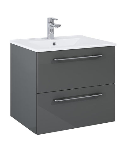 SONAS Otto Plus Gloss Grey 60cm 2 Drawer Wall Hung Vanity Unit - D46cm Code DRWOP60GG