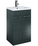 SONAS Otto Plus 50cm Slimline Vanity Unit 2 Door Grey and Basin Code ELTPOR50GY