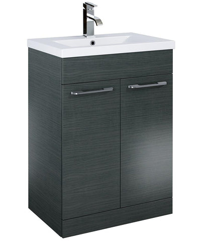 SONAS Otto Plus 60cm Slimline Vanity Unit 2 Door Grey and Basin Code ELTPOR60GY