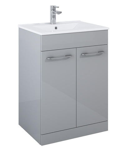 SONAS Otto Plus Gloss Light Grey 60cm Floor Standing 2 Door Vanity Unit Code F2D60OPLG