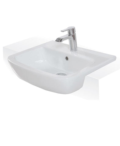 Florence 52cm Semi Recessed Washbasin 1TH Code FLOSRBAS1-US