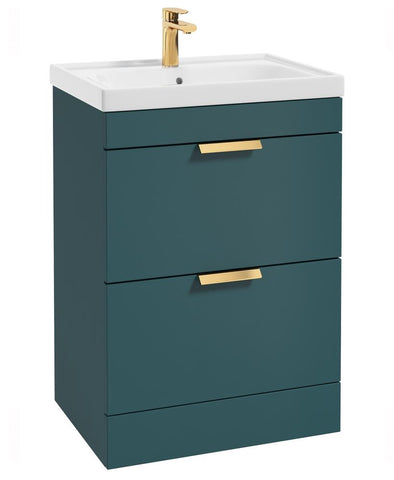 SONAS Stockholm Ocean Blue Matt 60cm 2 Drawer Floor Standing Vanity Unit - Brushed Gold Handle Code GDST60OB