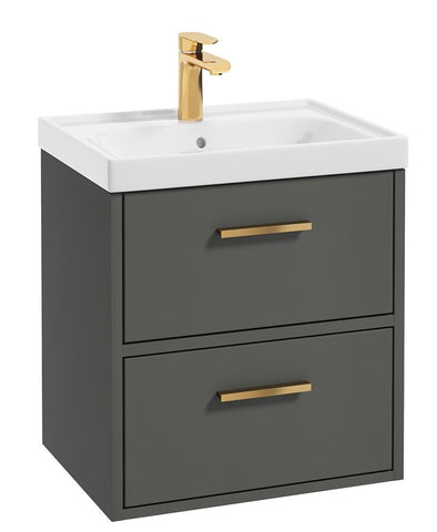 SONAS Finland Dolphin Grey Matt 50cm Wall Hung Vanity Unit - Brushed Gold Handle Code GFIN50DG
