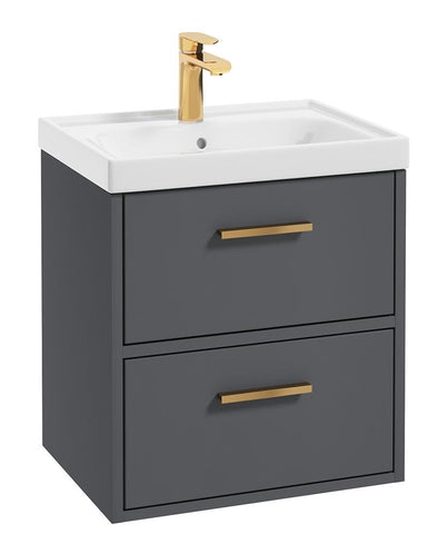 SONAS Finland Midnight Grey Matt 50cm Wall Hung Vanity Unit - Brushed Gold Handle Code GFIN50MN