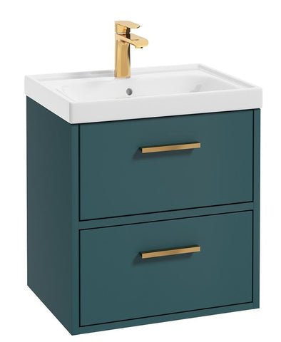 SONAS Finland Ocean Blue Matt 50cm Wall Hung Vanity Unit - Brushed Gold Handle Code GFIN50OB