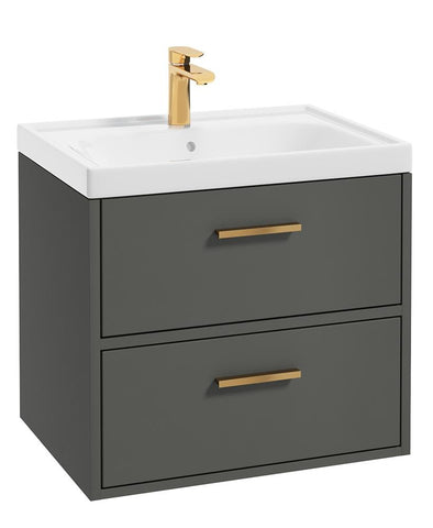 SONAS Finland Dolphin Grey Matt 60cm Wall Hung Vanity Unit - Brushed Gold Handle Code GFIN60DG