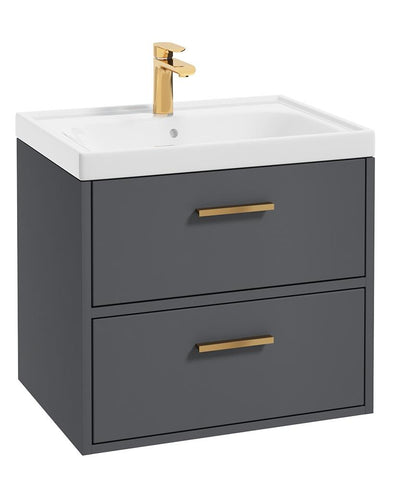 SONAS Finland Midnight Grey Matt 60cm Wall Hung Vanity Unit - Brushed Gold Handle Code GFIN60MN