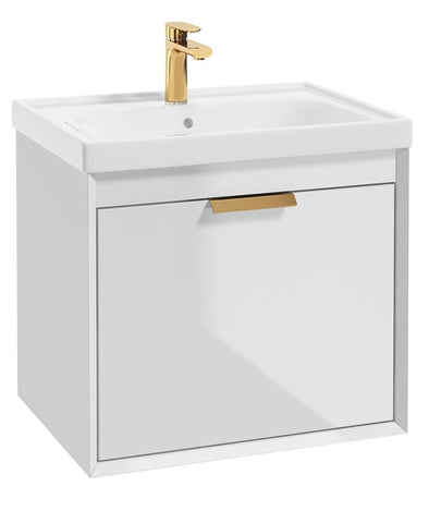 SONAS Fjord Gloss White  60cm Wall Hung Vanity Unit-Brushed Gold Handle Code GFJ60WH