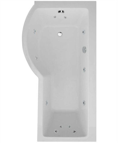 SONAS P Shaped 1700 x 900 shower bath Left hand 12 jet bath cw Panel & Bath screen Code GGIPS004L