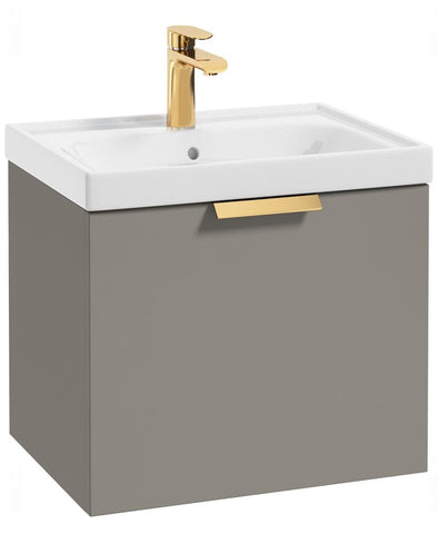 SONAS Stockholm Khaki Matt 50cm Wall Hung Vanity Unit - Brushed Gold Handle Code GWST50KH