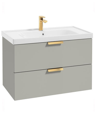SONAS Stockholm Arctic Grey Matt 80cm Wall Hung Vanity Unit - Brushed Gold Handle Code GWST80AG