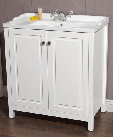SONAS Kingston 80 Chalk White Vanity Unit & Victoria Basin Code KIN80WHVIC