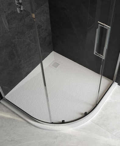 Slate 1000 Quadrant White Shower Tray and Waste NSLQ100WH