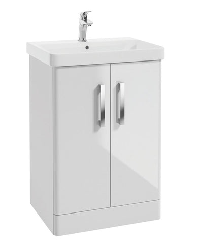 SONAS Odeon Gloss White 600mm 2 Door Vanity Unit & Basin Code OD2D60WH