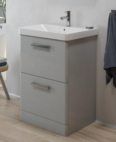 SONAS Odeon Cool Grey 600mm 2 Drawer Vanity Unit & Basin Code OD2DR60CG