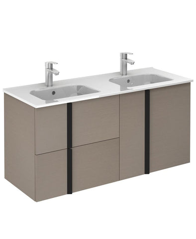 SONAS Avila Smokey Grey Wall Hung 120 Vanity Unit and SLIM Basin 2 door  2 drawer Code SLMAV12044SMG