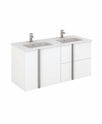 SONAS Avila White Wall Hung 120 Vanity Unit and SLIM Basin - 2 Door 2 Drawer Code SLMAV12044WH