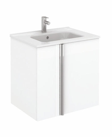 SONAS Avila White Wall Hung 60 Vanity Unit and SLIM Basin - 2 Door Code SLMAV60DRWH