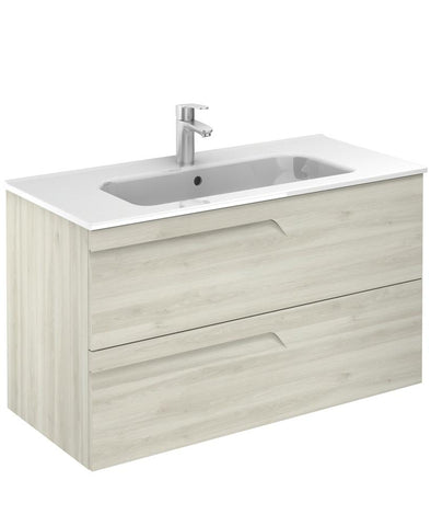 SONAS Brava Nature White 100 Wall Hung Vanity Unit and Slim Basin Code SLMBR1002DNWH