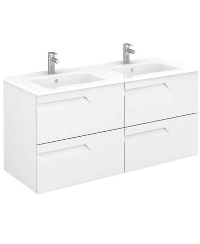 SONAS Brava 120 White Vanity Unit White and SLIM Basin	 Code SLMBR1202DWH