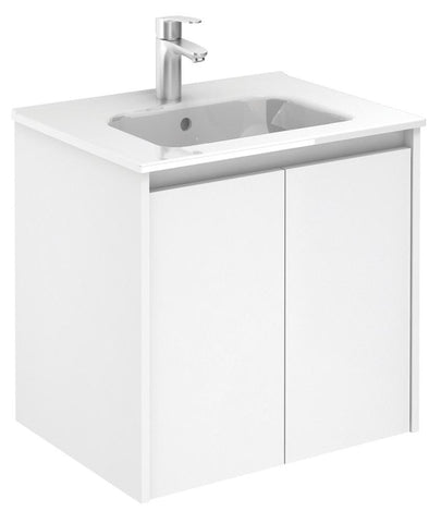 SONAS Smart Gloss White 60cm Vanity Unit 2 Door and Slim Basin Code SLSM602WH