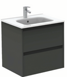 SONAS Smart Gloss Grey 60cm Vanity Unit 2 Drawer and Slim Basin Code SLSM60GG