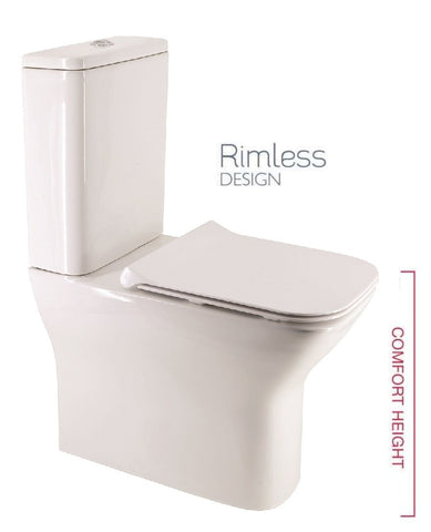 SONAS Sophia Comfort Height Fully Shrouded RIMLESS Toilet and Slim Soft Close Seat Code SOPCHFS03