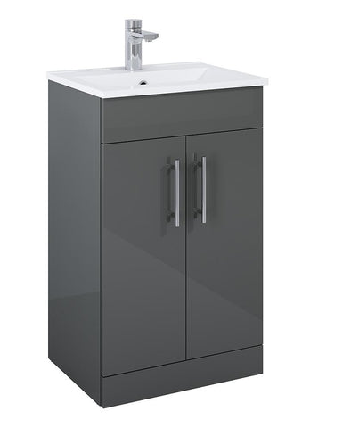 SONAS Belmont Square Gloss Grey 50cm Floor Standing 2 Door Vanity Unit Code SQBEL50GG