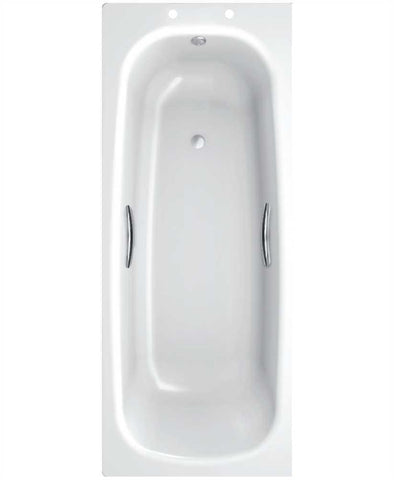 SONAS Strata Single Ended 1600 x 700 Steel Bath - With Grips Only Code SSB167PLGR