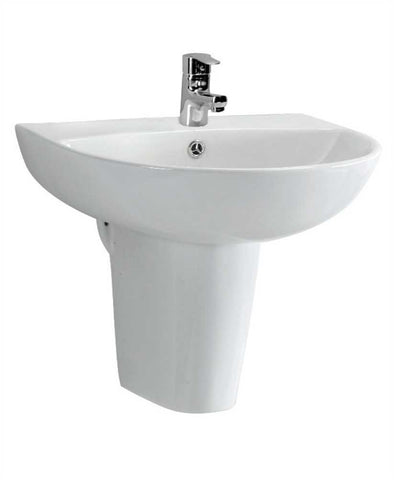 SONAS Verona 55 cm Basin and Semi Pedestal 1 Tap Hole  Code VER5501SP