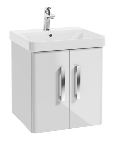 SONAS Odeon White Gloss 50cm Wall Hung 2 Door Vanity Unit Code W1OD50WH