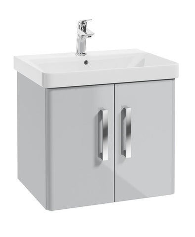 SONAS Odeon Cool Grey Gloss 60cm Wall Hung 2 Door Vanity Unit Code W1OD60CG