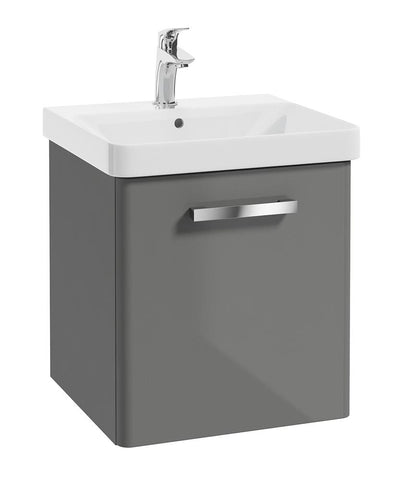 SONAS Odeon Steel Grey Gloss 50cm Wall Hung 1 Drawer Vanity Unit Code W2OD50SG